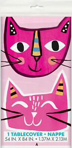 Pink Cat Face Plastic Party Tablecover Cat Lovers Birthday Party Tableware
