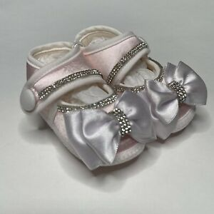 Special Occasion Dress Bootie Baby Size 3-6 Months Satin Bow Rhinestone Pagent