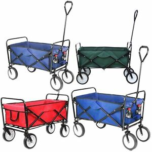 Collapsible Garden Cart Wagon Heavy Duty Utility Outdoor Beach Wheel Trolley