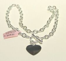 ELEGANT BEAUTIFUL STERLING SILVER NECKLACE HEART MEDALLION TO ENGRAVE  NEW