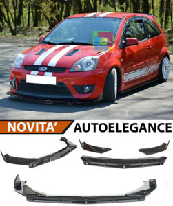 SPLITTER FORD FIESTA MK6 LIP NERO LUCIDO SOTTO PARAURTI ABS RS DESIGN 3P .-