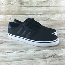 Adidas Seeley Mens Size 8.5 Black Canvas Low Top Sneakers Skateboard Shoes