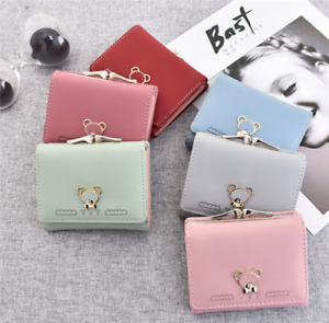 UK Womens Short Small Money Purse Wallet Ladies Leather Student Cute Card Holder