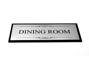 Dining Room Door Sign Adhesive Plaque Silver & Black - Acrylic (Size 19.5x7.6cm)