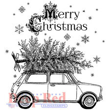 Deep Red Stamps Christmas Car Rubber Cling Stamp