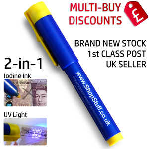 2 IN 1 UV COUNTERFEIT FAKE FORGED MONEY NOTE CHECKER DETECTOR TESTER PENS (G1)