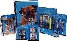 Large 25 Piece Cute Blue Pug Dog School Set - Pencil Case, A4 Folder, Stationery