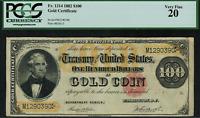 1882 $100 Gold Certificate FR-1214 - Graded PCGS 20 - Very Fine - Teehee/Burke