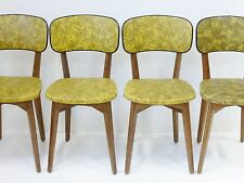 SUITE DE 4 CHAISES CAMOUFLAGE JAUNE & NOIR VINTAGE FRENCH 50's ROCKABILLY CHAIRS