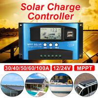 100A MPPT Solar Panel Battery Regulator Charge Controller 12/24V Auto Double USB