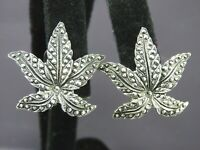 Vintage FAUX MARCASITE Silver Tone CLIP ON EARRINGS Leaf Figural DARK GRAY TRIM