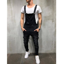 Classic Fashion Men's Denim Overalls Slim Fit Jumpsuits Bib Pants Skinny Jeans