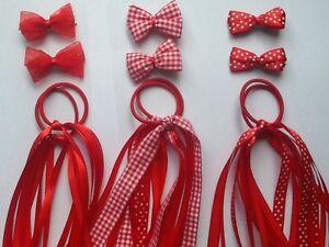Red Gingham Plain School Ribbon Hair Streamer Scrunchie Bobble/Band Clip Slide