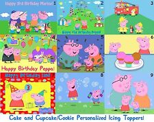 Peppa Pig Edible Custom Icing Sheet Cake Cupcake Topper Personalized Sonic