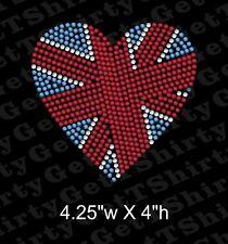 Great Britian, England, United Kingdom  Flag Heart Rhinestone Transfer