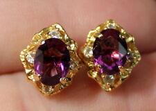 Rhinestone Gold Tone Rd4/Ac271 Earrings Pierced Faux Amethyst &