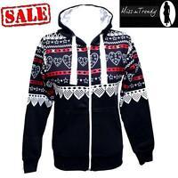 New Womens Aztec Heart Print Hoodie Long Sleeve Zipper Ladies Hooded Jacket 6-14