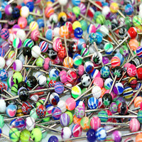 V099 Acrylic Tongue Rings Barbells Hearts Stars Strips Flowers Weed Pot Peace