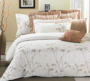 New Stunning Ivory/Chocolate branches Luxury 3pcs Duvet Cover Set QUEEN availabl
