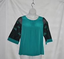 Bob Mackie Organza Sleeve Silk Blouse w/Embroidery & Pleat Detail Size S Turq