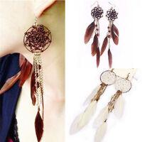 Bohemia Feather Beads Long Design Dream Catcher Earrings for Women Jewelry TGS