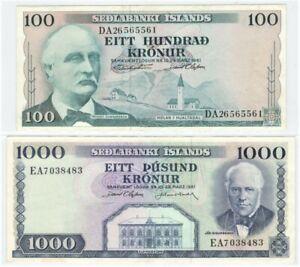 Iceland Republic, 100+1000 Kronur 1961 (VF/XF) #1869