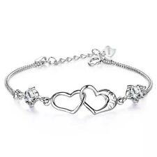 Damen Armband echt 925 Silber mit  Herzchen-Anhänger Sterling Herz Armband Süß