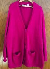 Magenta Wool Cardigan Sweater Womens L/3 Express Tricot