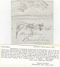 # 1827 DALKEITH PPO DAVID PRINGLE LETTER TO WILSONS OF BANNOCKBURN WOOL PRICES
