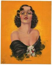 """Captivating by Evross 1930s Glamour Girl art deco print 5"""" x 6.25"""" Ӝ"""