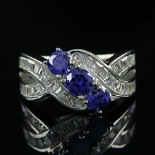 White Gold Over 925 Sterling Silver Blue Tanzanite 3-Stone Wedding Band Ring 14k