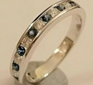 Sapphire and Diamond half hoop eternity ring 18ct white gold