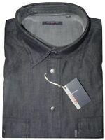 CAMICIA UOMO Jeans manica lunga taschini M L XL XXL XXXL 100% COTONE denim NERO