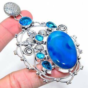 "Labradorite, Blue Topaz Gemstone Handmade Ethnic Gift Jewelry Pendant 3.78"" UL"