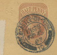 2441 1897 QV ½ D postal stationery wrapper NEWCASTLE-ON-TYNE to BREMEN PERFIN R!