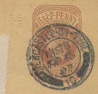 GB 1897 QV ½ D postal stationery wrapper NEWCASTLE-ON-TYNE to BREMEN PERFIN R!