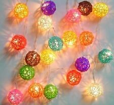 Multi Coloured Rattan Ball Mains Plug Fairy Lights 20 Balls