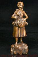 """8 """"Vieux bois de buis de Chine sculpté belle femme beauté tenir coq coq statue"""