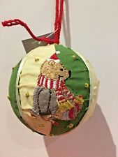 Gisela Graham Large Fabric/Embroidered Bear Tree Decoration Green/Cream