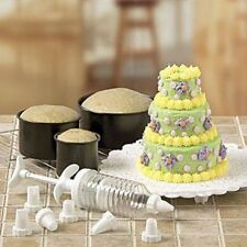 MINI-TIERED CAKE PAN SET WITH DECORATING ACCESSORIES 14 PC
