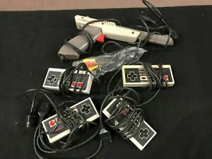 Nintendo NES Video Game Controllers Lot x4 Plus Cords & Gun Used & Untested