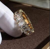 2Ct Emerald Cut VVS1/D Diamond Full Eternity Wedding Band 14K Yellow Gold Finish