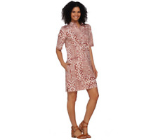 Denim & Co. Elbow Sleeve Tribal Printed Denim Dress NEW ANTIQUE ROSE Size S