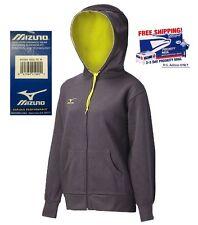 MIZUNO $69 NEW Grey Lime Full Zip Fleece Hoodie Sweat Shirt M QCO