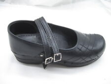 Sanita size 38 7M black leather Mary Janes womens ladies flats loafers shoes