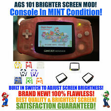 Nintendo Game Boy Advance GBA Pink System AGS 101 Brighter Backlit Mod SWITCH