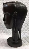 Vintage Beautiful Tanganyika African Hand Carved Dark Wood Woman Bust Figure