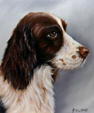 Springer Spaniel Dog Oil Painting Animal Pet Portrait Realism Style