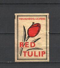 "Made in Holland ""Red Tulip"" Old Vintage Matchbox Label"