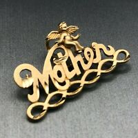 14k Yellow Gold Mother with Cherub Angel Brooch Lapel Pin Vintage Estate Jewelry